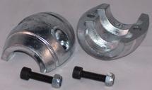 Aluminium schroefas-anode diam. 50mm  bolvormig