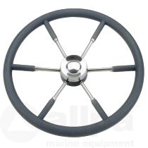 Stuurwiel 6 spaaks RVS met zwart plyurethaan rand  en grepen